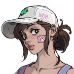 1girl alternate_hairstyle bandaid_on_cheek baseball_cap black_eyes brown_hair collarbone commentary d.va_(overwatch) english_commentary face folded_ponytail friendly_mutton_chops hat lips looking_at_viewer nose overwatch shooting_star_d.va short_hair sleeveless solo suisui_again tank_top twitter_username