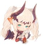1girl blonde_hair blush closed_mouth ear_blush final_fantasy final_fantasy_xiv fingerless_gloves gloves hair_ornament hand_up horns lalafell long_hair looking_at_viewer pointy_ears red_gloves rosette_(yankaixuan) shoulder_armor simple_background smile solo spaulders twintails upper_body white_background