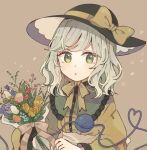 1girl black_headwear bouquet bow brown_background chin_strap flower frills green_eyes green_hair hat hat_bow heart heart_of_string holding holding_bouquet long_sleeves looking_at_viewer medium_hair mozukuzu_(manukedori) shirt solo third_eye touhou upper_body yellow_bow yellow_shirt