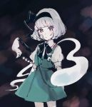 1girl bandaged_arm bandages bandaid bandaid_on_face bangs black_background black_hairband black_neckwear black_ribbon cowboy_shot green_skirt green_vest hair_ribbon hairband katana konpaku_youmu konpaku_youmu_(ghost) looking_at_viewer mozukuzu_(manukedori) neck_ribbon ribbon shirt short_hair short_sleeves silver_hair skirt solo sword tassel touhou vest weapon white_shirt
