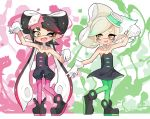 +_+ 2girls ;d aori_(splatoon) black_dress black_footwear black_hair black_jumpsuit brown_eyes collar cousins detached_collar domino_mask dress earrings fang food food_on_head gloves gradient_hair green_hair green_legwear grey_hair heel_up highres hotaru_(splatoon) jewelry long_hair looking_at_another looking_at_viewer mask medium_hair mole mole_under_eye multicolored_hair multiple_girls object_on_head one_eye_closed open_mouth paint_splatter pantyhose pointy_ears pose purple_hair purple_legwear shoes short_dress short_jumpsuit smile splatoon_(series) splatoon_1 standing strapless strapless_dress sukeo_(nunswa08) sushi tentacle_hair very_long_hair white_collar white_gloves
