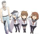 1boy 3girls anchor_symbol arm_hair bangs belt black_headwear black_legwear black_sailor_collar black_skirt blue_eyes brown_eyes brown_hair chest_hair commentary_request denim eyebrows_visible_through_hair facial_hair flat_cap folded_ponytail freddie_mercury hair_between_eyes hat hibiki_(kantai_collection) highres holding holding_microphone ikazuchi_(kantai_collection) inazuma_(kantai_collection) jeans kantai_collection kneehighs long_hair long_sleeves microphone microphone_stand misumi_(niku-kyu) multiple_girls mustache neckerchief open_mouth pants pleated_skirt red_neckwear sailor_collar salute school_uniform serafuku short_hair silver_hair simple_background skirt smile tank_top thigh-highs twitter_username white_background white_tank_top