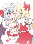 2girls bangs bat_wings blonde_hair blue_hair blush brooch closed_eyes closed_mouth crystal eyebrows_visible_through_hair fang flandre_scarlet hat hat_ribbon highres hug jewelry mob_cap multiple_girls one_eye_closed open_mouth ponytail red_eyes red_neckwear red_ribbon red_sash remilia_scarlet ribbon sash short_hair short_sleeves side_ponytail simple_background skin_fang skirt skirt_set suwa_yasai touhou vest white_background white_headwear wings