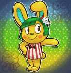 1boy altiastudio animal_ears artist_name blush bow bowtie bunny_tail doubutsu_no_mori frog green_hair hair_ornament rabbit rabbit_ears solo tail toby_(doubutsu_no_mori)