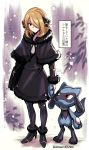 black_dress black_legwear blonde_hair bob_cut check_translation dress fur_collar fur_trim hair_ornament high_heels holding_hands leggings pokemon pokemon_(creature) pokemon_(game) purple_background riolu shawl shihakuroro shirona_(pokemon) short_hair snow translation_request winter_clothes