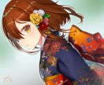1girl alternate_costume blue_kimono blurry blurry_background blush brown_eyes brown_hair closed_mouth commentary_request eyebrows_visible_through_hair fang floral_print from_side haiba_09 hair_ornament hatsumoude ikazuchi_(kantai_collection) japanese_clothes kantai_collection kanzashi kimono looking_at_viewer new_year obi print_kimono profile sash short_hair signature skin_fang solo upper_body