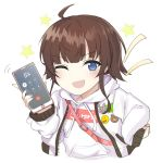 ahoge badge blue_eyes cellphone child copyright_request counter_side long_sleeves one_eye_closed phone smartphone