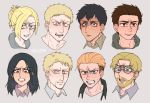 2girls 6+boys angry annie_leonhardt beard bertolt_hoover black_eyes black_hair blonde_hair blue_eyes brown_eyes brown_hair collar facial_hair glasses hair_pulled_back hair_slicked_back hood hoodie long_hair looking_at_viewer marcel_galliard medium_hair multiple_boys multiple_girls nelldya pieck ponytail porco_galliard reiner_braun shingeki_no_kyojin short_hair tied_hair undercut yellow_eyes zeke_yeager
