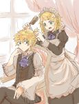 1boy 1girl alternate_costume apron asymmetrical_sleeves blonde_hair chair chin_rest combing cravat crossed_legs curtains enmaided frilled_sleeves frills green_eyes hair_ornament hairclip hairdressing hand_on_own_cheek highres kagamine_len kagamine_rin maid maid_apron maid_headdress messy_hair short_hair sitting sketch skirt sleeveless_blazer striped_clothes tamutamun vocaloid white_apron wide_sleeves window