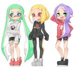 3girls absurdres arm_behind_head arm_up bangs bike_shorts black_footwear black_legwear black_shirt black_shorts blonde_hair blue_eyes blunt_bangs closed_mouth domino_mask fang game_console green_eyes green_hair grey_footwear grey_shirt gym_shorts half-closed_eyes hand_on_hip highres hood hood_down hoodie inkling leggings logo long_hair long_sleeves looking_at_viewer mask multiple_girls nintendo_switch open_mouth playstation pointy_ears print_shirt purple_hair red_eyes red_footwear red_shirt shirt shoes short_hair short_shorts shorts side_ponytail simple_background single_vertical_stripe sleeves_past_fingers sleeves_past_wrists smile splatoon_(series) splatoon_2 standing sukeo_(nunswa08) tentacle_hair very_long_hair white_background xbox
