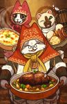animal_hood bread cat cat_hood cheese fangs felyne food glasses grammeowster_chef highres hood kerri_aitken knife looking_at_viewer monster_hunter monster_hunter:_world oven_mitts roast_beef round_eyewear sausage stew tankard