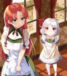 absurdres alternate_costume apron braid brooch chinese_text enmaided frilled_apron frills highres hong_meiling izayoi_sakuya jewelry kanta_(pixiv9296614) long_hair maid maid_apron maid_headdress no_hat no_headwear short_hair touhou twin_braids waist_apron white_apron younger