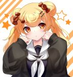 1girl arknights bangs black_jacket blonde_hair blue_shirt blush candy candy_hair_ornament candy_wrapper commentary diagonal_stripes double_bun eyebrows_visible_through_hair food food_themed_hair_ornament gummy_(arknights) hair_ornament hairclip hands_up highres jacket lollipop long_hair long_sleeves looking_at_viewer neckerchief parted_lips puffy_long_sleeves puffy_sleeves red_eyes rukinya_(nyanko_mogumogu) sailor_collar shirt sleeves_past_wrists solo star striped striped_background swirl_lollipop twintails upper_body white_background white_neckwear white_sailor_collar