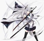1girl animal_ears azur_lane black_gloves black_legwear black_sailor_collar black_skirt blue_eyes blue_neckwear dual_wielding fox_ears fox_girl gloves half_gloves highres holding holding_sword holding_weapon kawakaze_(azur_lane) long_hair looking_at_viewer neckerchief pleated_skirt ribbon-trimmed_sleeves ribbon_trim sailor_collar simple_background skirt solo sword thigh-highs tsukimiya_(tsukinami15) weapon white_hair wide_sleeves zettai_ryouiki