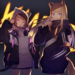 2girls animal_ears animal_hood black_hoodie black_jacket blonde_hair brown_hair cat_tail cowboy_shot dark drawstring fake_animal_ears fox_ears fox_tail hand_in_pocket headphones headphones_around_neck hood hood_down hoodie jacket kmnz long_hair long_sleeves looking_at_viewer mc_lita mc_liz multiple_girls open_clothes open_jacket open_mouth pink_eyes puffy_sleeves shugao smile tail violet_eyes white_hoodie