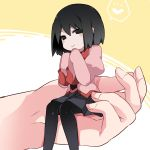 bangs black_eyes black_hair black_legwear black_neckwear black_skirt blush_stickers bob_cut carrying closed_mouth commentary empty_eyes hair_between_eyes hammer_(sunset_beach) hands_on_own_chin hands_together heart highres light_smile looking_at_viewer minigirl monogatari_(series) necktie on_head oshino_ougi pantyhose person_on_head puffy_sleeves school_uniform short_hair sitting skirt sleeves_past_wrists spoken_heart yellow_background