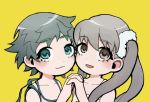 2girls :3 alternate_eye_color alternate_form alternate_hairstyle bangs bare_shoulders brown_eyes camisole closed_mouth collarbone commentary cotton_1186 dress dual_persona face-to-face green_eyes hair_ornament hair_scrunchie holding_hands light_smile long_hair looking_at_viewer monogatari_(series) multiple_girls oikura_sodachi open_mouth owarimonogatari portrait scrunchie short_hair silver_hair simple_background spaghetti_strap sundress twintails very_short_hair white_camisole white_scrunchie yellow_background yellow_dress zokuowarimonogatari