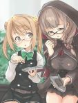 2girls ahoge bangs bespectacled black_dress blush braid breasts brown_eyes brown_hair capelet daihatsu_(landing_craft) double_bun dress eyebrows_visible_through_hair fyuo glasses green_neckwear holding hood hood_up hooded_capelet kantai_collection large_breasts light_brown_hair long_hair michishio_(kantai_collection) multiple_girls open_mouth pinafore_dress remodel_(kantai_collection) shinshuu_maru_(kantai_collection) shirt skirt twin_braids white_shirt