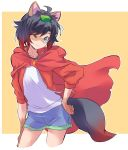 1girl ahoge animal_ears black_hair cape cloak gradient_hair grey_eyes hair_ornament highres hood hooded_cloak iesupa leaf leaf_hair_ornament leaf_on_head multicolored_hair raccoon_ears red_cape redhead ruby_rose rwby short_hair short_shorts shorts solo two-tone_hair