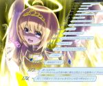 1girl ahoge alternate_eye_color alternate_form alternate_hair_color angel angel_wings armor artist_request aura bangs bare_shoulders blonde_hair blue_eyes blush bob_cut bracer breastplate check_translation eyebrows_visible_through_hair gloves halo highres itai_no_wa_iya_nano_de_bougyoryoku_ni_kyokufuri_shitai_to_omoimasu light looking_at_viewer maple_(bofuri) open_mouth shield short_hair signature sleeveless smile solo speech_bubble tiara translation_request underlighting upper_body white_wings wings