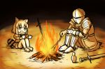 1boy 1girl :d animal_ears arai-san_mansion armor bonfire bottle campfire chosen_undead commentary_request common_raccoon_(kemono_friends) crossover dark_souls dress epaulettes fire full_armor fur_collar gauntlets helmet kemono_friends knees_to_chest open_mouth outstretched_arms raccoon raccoon_ears raccoon_tail sitting smile souls_(from_software) spread_fingers stick sword tail tenten_(nicoseiga18696142) weapon