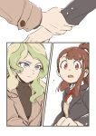 alternate_costume black_jacket blonde_hair blue_eyes brown_hair confused diana_cavendish formal hands_on_another's_wrists highres jacket kagari_atsuko little_witch_academia long_hair looking_at_another multicolored_hair multiple_girls open_mouth red_eyes simple_background suit surprised tonton_(mathcaca24) yuri