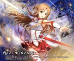 1girl asuna_(sao) bangs bare_shoulders boots braid breasts brown_eyes brown_hair commentary_request eyebrows_visible_through_hair holding holding_sword holding_weapon long_hair looking_at_viewer mayachise medium_breasts official_art open_mouth red_skirt skirt smile solo_focus sword sword_art_online thigh-highs thigh_boots translation_request weapon white_legwear zenonzard