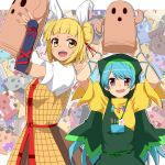 2girls :d apron arm_ribbon armor armored_dress arms_up bangs blonde_hair blue_eyes blunt_bangs commentary_request double_bun dress eyebrows_visible_through_hair flower green_apron green_headwear hair_ribbon haniwa_(statue) haniyasushin_keiki hemogurobin_a1c holding hood joutouguu_mayumi long_hair looking_at_viewer magatama magatama_necklace multicolored multicolored_background multiple_girls open_mouth puffy_short_sleeves puffy_sleeves ribbon shirt short_hair short_sleeves single_strap smile swept_bangs tools touhou upper_teeth vambraces very_long_hair violet_eyes white_shirt yellow_dress yellow_eyes