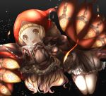 1girl bangs bare_legs black_background blonde_hair blunt_bangs blush book brown_dress chain claws dress eyebrows_visible_through_hair holding holding_book hood hood_up little_red_riding_hood_(sinoalice) long_hair long_sleeves looking_at_viewer open_book open_mouth red_hoodie short_dress simple_background sinoalice sleeves_past_fingers sleeves_past_wrists solo yamai_fake yellow_eyes