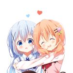 2girls :d ^_^ bangs blue_eyes blue_hair blue_vest blush brown_hair closed_eyes collared_shirt commentary deyui eyebrows_visible_through_hair gochuumon_wa_usagi_desu_ka? hair_between_eyes hair_ornament hairclip heart highres hoto_cocoa hug kafuu_chino long_hair long_sleeves looking_at_viewer multiple_girls open_mouth pink_vest rabbit_house_uniform shirt simple_background sleeves_past_wrists smile uniform upper_body vest waitress wavy_mouth white_background white_shirt x_hair_ornament