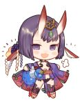 1girl :d blush bob_cut chibi cup diadem fangs fate/grand_order fate_(series) food fruit full_body grapes horns japanese_clothes kimono long_sleeves looking_at_viewer oni_horns open_mouth purple_hair purple_kimono revealing_clothes rosette_(yankaixuan) sakazuki sandals shuten_douji_(fate/grand_order) simple_background smile solo standing white_background wide_sleeves