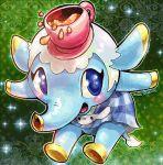 1girl altiastudio artist_name blue_eyes blush cup elephant elephant_ears elephant_tail fiika_(doubutsu_no_mori) no_humans open_mouth solo sparkle teacup