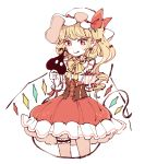 1girl :q arm_behind_back blonde_hair cowboy_shot cropped_legs crystal dress earrings flandre_scarlet frilled_dress frills hat holding holding_own_tail jewelry laevatein_(tail) leg_garter light_blush long_hair mob_cap mozukuzu_(manukedori) neck_ribbon pointy_ears puffy_short_sleeves puffy_sleeves red_dress red_eyes ribbon short_sleeves side_ponytail simple_background solo tail tongue tongue_out touhou white_background white_headwear wings wrist_cuffs yellow_neckwear