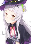 1girl absurdres bangs blunt_bangs blush buttons evening_rabbit flat_chest hair_bun hat headband highres hololive lavender_hair long_hair looking_at_viewer murasaki_shion orange_eyes solo striped vertical_stripes virtual_youtuber white_background witch_hat