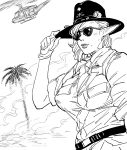 1girl aircraft bb_(baalbuddy) belt commentary cowboy_hat elf english_commentary gloves greyscale hand_on_headwear hand_up hat helicopter highres looking_at_viewer mole mole_under_mouth monochrome original pointy_ears shirt short_sleeves smile solo sunglasses