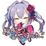 1girl bangs beniko_(ymdbnk) black_footwear blue_kimono blush chibi closed_eyes closed_mouth double_bun eyebrows_visible_through_hair facing_viewer full_body fur_collar gradient_kimono grey_hair hair_between_eyes hair_intakes hair_ornament hand_to_own_mouth japanese_clothes kimono long_hair long_sleeves obi original pink_kimono sash simple_background sleeves_past_fingers sleeves_past_wrists socks solo translation_request twintails very_long_hair white_background white_legwear wide_sleeves zouri