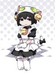 1girl animal_hat apron bell bell_collar black_bow black_dress black_eyes black_hair blush_stickers bob_cut bow cat_feet cat_hat cat_paws cat_tail collar commentary cosplay dejiko dejiko_(cosplay) di_gi_charat dress empty_eyes gloves hair_bell hair_bow hair_ornament halftone halftone_background hammer_(sunset_beach) hat jingle_bell light_smile looking_at_viewer lowered_eyelids maid monogatari_(series) oshino_ougi paws short_hair sitting smug solo tail tail_bow white_apron white_footwear white_gloves white_headwear white_tail