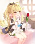1girl absurdly_long_hair ahoge bare_legs bare_shoulders blonde_hair blush braid breasts cleavage_cutout commentary_request corn dress flower granblue_fantasy hair_ribbon harvin highres kuro_chairo_no_neko long_hair melissabelle on_bed open_mouth pointy_ears red_flower ribbon sidelocks signature sitting small_breasts smile solo stuffed_toy tied_hair tulip very_long_hair yellow_eyes