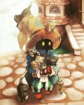 artist_request black_cat black_eyes black_mage cat cat_focus final_fantasy full_body green_eyes hat holding holding_cat house long_sleeves looking_at_viewer pants stairs standing striped striped_pants third-party_source too_many too_many_cats vertical-striped_pants vertical_stripes white_cat witch_hat yellow_eyes