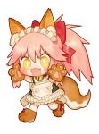 :d animal_ear_fluff animal_ears apron bell blush_stickers bow bright_pupils eyebrows_visible_through_hair fang fate/grand_order fate_(series) fox_ears fox_tail gloves hair_bow hands_up jingle_bell maid_apron maid_headdress neck_bell open_mouth paw_boots paw_gloves paws red_bow rosette_(yankaixuan) simple_background smile standing tail tamamo_(fate)_(all) tamamo_cat_(fate) thigh-highs white_background white_legwear yellow_eyes