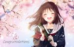 1girl :d ^_^ black_serafuku black_shirt blush brown_hair cherry_blossoms closed_eyes collarbone commentary_request congratulations facing_viewer graduated_cylinder graduation happy_tears highres holding long_hair long_sleeves neckerchief open_mouth original petals red_neckwear red_ribbon ribbon round_teeth school_uniform serafuku shirt smile solo spring_(season) tears teeth upper_body upper_teeth yoshida_iyo