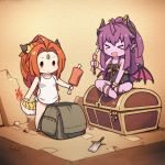 >_< 2girls :d ahoge backpack bag bangs bare_arms bare_legs bare_shoulders barefoot black_dress boned_meat breasts broken broken_sword broken_weapon brown_eyes brown_hair chibi closed_eyes closed_mouth collarbone commentary_request copyright_request cuffs curled_horns demon_girl demon_horns demon_wings dragon_girl dragon_horns dragon_tail dress ear_piercing fang food forehead_jewel highres holding holding_food horns langbazi long_hair meat multiple_girls open_mouth parted_bangs piercing pink_wings pointy_ears ponytail purple_hair purple_skirt signature sitting sitting_on_chest skirt small_breasts smile standing strapless strapless_dress sword tail tail-tip_fire treasure_chest v-shaped_eyebrows very_long_hair weapon white_dress wings xd