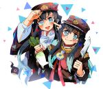 2boys adjusting_headwear black_hair black_headwear black_shirt blue_eyes brothers buttons cosplay daikon finger_to_cheek gakuran gradient_hair hanako_(jibaku_shounen_hanako-kun) hanako_(jibaku_shounen_hanako-kun)_(cosplay) hand_up hitodama holding holding_knife jibaku_shounen_hanako-kun k_koba kimetsu_no_yaiba kitchen_knife knife long_hair long_sleeves looking_at_viewer multicolored_hair multiple_boys school_uniform shirt siblings smile smirk tokitou_muichirou tokitou_yuichirou tongue tongue_out triangle twins upper_body v-shaped_eyebrows very_long_hair white_background wide_sleeves yugi_tsukasa yugi_tsukasa_(cosplay)