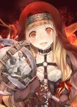 1girl bangs blonde_hair bone breasts choker collarbone hair_ribbon holding holding_staff keyhole little_red_riding_hood_(sinoalice) long_hair long_sleeves looking_at_viewer medium_breasts open_mouth orange_hair red_headwear red_ribbon ribbon sinoalice skeleton skull sleeves_past_fingers sleeves_past_wrists solo staff teroru upper_body veil