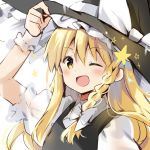 1girl ;d adjusting_clothes adjusting_hat arm_up bangs black_headwear black_vest blonde_hair blush bow braid commentary_request eyebrows_visible_through_hair hair_between_eyes hair_bow hat hat_bow kirisame_marisa long_hair looking_at_viewer natsume_eri one_eye_closed open_mouth puffy_short_sleeves puffy_sleeves shirt short_sleeves sidelocks single_braid smile solo star touhou upper_body vest white_bow white_shirt witch_hat wrist_cuffs yellow_eyes