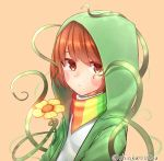1other artist_name blush_stickers brown_eyes brown_hair chara_(undertale) crying crying_with_eyes_open eyebrows_visible_through_hair flower green_jacket highres hood hooded_jacket jacket looking_at_viewer plant rainbow_scarf scarf shioka_rei short_hair storyshift storyswap tears undertale yellow_flower