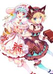 2girls :d animal_ear_fluff animal_ears bare_shoulders bell blonde_hair blue_eyes blue_hair blue_legwear bow braid brown_bow brown_dress brown_hairband cat_ears diagonal-striped_legwear diagonal_stripes dress fang flower food_themed_clothes frilled_dress frilled_hairband frills grey_legwear hairband highres holding holding_flower jingle_bell kneehighs looking_at_viewer multiple_girls nishimura_eri off-shoulder_dress off_shoulder open_mouth original puffy_short_sleeves puffy_sleeves rabbit_ears red_bow red_eyes round_teeth short_sleeves simple_background smile striped striped_bow suitcase teeth twin_braids upper_teeth white_background white_dress white_hairband yellow_flower