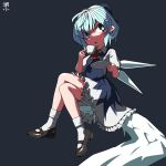 1girl artist_name black_footwear bloomers blue_bow blue_eyes blue_hair blush bow cirno crossed_legs cup dress frilled_dress frills hair_bow highres huxiao_(mistlakefront) ice ice_wings looking_at_viewer mary_janes puffy_short_sleeves puffy_sleeves saucer shoes short_hair short_sleeves sitting socks solo teacup touhou underwear white_legwear wings