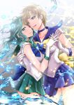 2girls bishoujo_senshi_sailor_moon blue_choker blue_eyes blue_skirt brown_hair choker collarbone gloves green_choker green_eyes green_hair green_skirt highres hikaru_(gevp7588) interlocked_fingers kaiou_michiru long_hair looking_at_another looking_at_viewer magical_girl multiple_girls open_mouth pleated_skirt sailor_neptune sailor_senshi_uniform sailor_uranus short_hair skirt smile ten'ou_haruka tiara water white_gloves yuri
