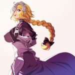 1girl 846-gou armor armored_dress back blonde_hair blue_eyes braid breasts fate/apocrypha fate/grand_order fate_(series) faulds gauntlets headpiece highres jeanne_d'arc_(fate) jeanne_d'arc_(fate)_(all) large_breasts long_braid long_hair single_braid smile standard_bearer thigh-highs very_long_hair violet_eyes